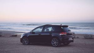 Volkswagen golf by the sea